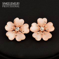 Find More Stud Earrings Information about Charm Solid Opal Plum Flower Earrings Stud Ear 18K Rose Gold Plated 2016 New Women Fashion Jewelry Es660,High Quality jewelry win,China jewelry 2010 Suppliers, Cheap jewelry toggle from SINKEE JEWELRY Store on Aliexpress.com