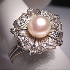 Antique Palladium Diamond Pearl Ring Vintage Art Deco