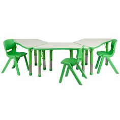 Flash Furniture Trapezoid Plastic Activity Table with 3 School Stack Chairs, Green Flash Furniture http://www.amazon.com/dp/B00K938FXC/ref=cm_sw_r_pi_dp_zQLXwb1KVYHE1
