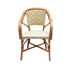 Bistro Arm Chair Dimensions: x x  Weave: Lozenge Primary Color: Matte Ivory Secondary Color: Matte Beige Wood Finish: Natural Secondary Color, Primary Colors, French Interior, Interior Design, French Bistro Chairs, French Cafe, Handmade Furniture, Rattan, Bar Stools