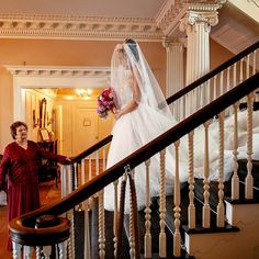 Whether you're prepping for the event of a lifetime in your childhood home or a hotel, put the stairs to good use with a dramatic shot like this one.