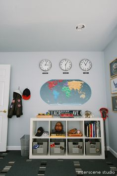 Love the idea of a world map and clocks in a home. Might have to replicate this one day in the future...a clock for Melbourne, London and Colorado.