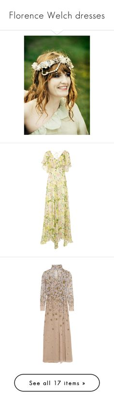 """Florence Welch dresses"" by stradlatersgirl on Polyvore featuring dresses, ruffle dress, frilly dress, ruffle maxi dress, flower print dress, flower pattern dress, gowns, topshop unique, neutrals and maxi dress"