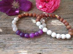 Purple Agate Mala Bracelet + Howlite + Frosted Rose Quartz + Sandalwood, Boho Bracelet, Yoga bracelet, Meditation, I AM STRONG bracelet