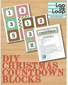DIY Christmas Countdown Blocks Instant Download by LooDeLoop, $4.00