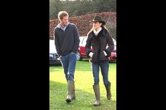 «Matching Mates»  On Dec. 24, 2011, the Duchess visited Castle Rising near Sandringham, Norfolk with Prince Harry. Both royals wore Wellington boots to watch Prince William play in a soccer match