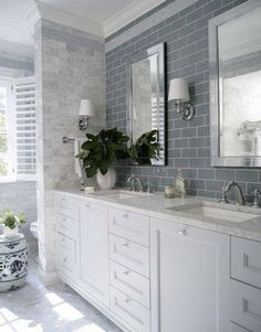 Bathroom Ideas, Grey Subway Tile Bathroom With Double Sinks White Bathroom Vanity Under Two Framed Mirrors Also Two Wall Sconces: Take a Good Decision of Subway Tile Bathroom Hampton Style Bathrooms, Vintage Bathroom Decor, Bathroom Styling, Stylish Bathroom, Traditional Bathroom, Bathroom Layout, Bathroom Inspiration, Bathrooms Remodel, Gray And White Bathroom