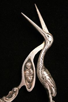 Here for your consideration are a pair of antique midwife stork themed sterling silver scissors. One of the nicest collector scissors we have ever seen. Very ornate handles and detailed work throughout. Vintage Scissors, Sewing Scissors, Embroidery Scissors, Sewing Tools, Sewing Hacks, Sewing Box, Sewing Crafts, Vintage Sewing Notions, Antique Sewing Machines