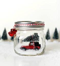 Car in Jar Snow Globe - Red Jeep Wrangler in Mason Jar Snow Globe - Christmas Decoration with Mason Jar by dropclothdesignco on Etsy https://www.etsy.com/listing/553613372/car-in-jar-snow-globe-red-jeep-wrangler