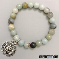 ABUNDANCE: Amazonite   Buddha Charm Yoga Chakra Bracelet