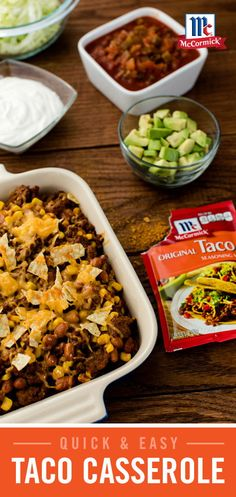 "A quick and easy version of ""Taco Night,"" this Taco Casserole recipe packs all of the great flavor of tacos in one delicious dish. Tasty Dishes, Food Dishes, Main Dishes, Carnitas, Mexican Dinner Recipes, Mexican Dishes, Good Food, Yummy Food, Yummy Eats"