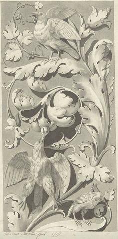 Ornament van bladranken en vogels, Johannes Beretta, 1791_ https://www.rijksmuseum.nl/en/collection/RP-T-00-831