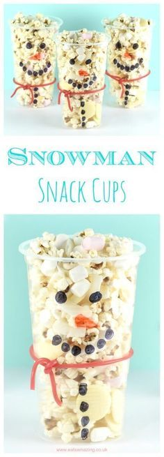 Cute and easy snowman snack cups recipe - fun kids food idea that is perfect for winter parties and movie night snacks