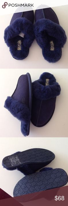 Ugg Australia Blue Scufette II Luster Slippers Pretty much new (worn for 10 min) and authentic. I wore it around the house 10 minutes but it's a little too tight. I don't have the box and stuff. But it is 100% authentic or your money back. UGG Shoes Slippers
