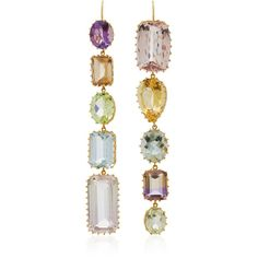 Renee Lewis 18K Gold Multi-Stone Earrings ($19,900) ❤ liked on Polyvore featuring jewelry, earrings, pink, multi stone earrings, hand crafted jewelry, gold earrings, handcrafted jewelry and 18k gold jewelry