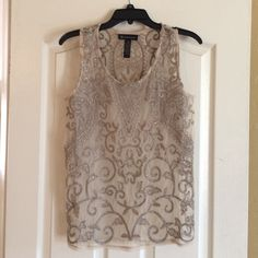 INC Brand - Medium Beautiful beige sleeveless top with detailed stitching. Within the pattern are small crystals for a stunning statement. I love this top ! Worn once and a little small for me. INC International Concepts Tops