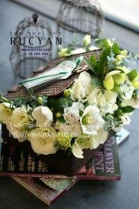 축하꽃선물(화이트 플라워 스퀘어 바스켓)_플라워 컴퍼니,루시안(RUCYAN) :: 네이버 블로그