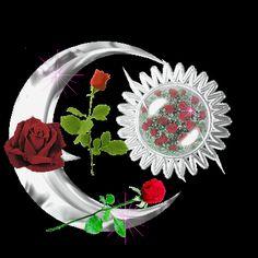 Kırmızı güllerle süslü hareketli ay resmi
