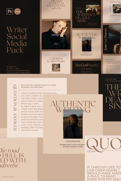 #ad #instagram #instagramfeed #feed #canva #socialmedia  Writers Social Media Pack Vol.3 is created on CANVA, Adobe Photoshop. It helps to build professional Instagram feed and bring an artistic touch to your Social Media posts. Design templates ideal for Authors, Writers, Poets, Storytellers, Booklovers, and Bloggers. Book Cover Design Template, Design Templates, Social Media Template, Social Media Design, Instagram Design, Instagram Feed, Web Design, Graphic Design Typography, Branding Design