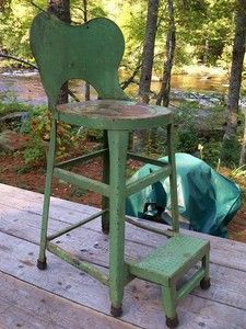 ANTIQUE vtg PRIMITIVE folk art FRENCH COUNTRY chair STEP STOOL plant STAND PAINT | eBay