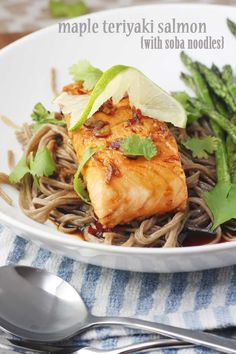 This maple teriyaki salmon with soba noodles is perfect for an easy & healthy mid-week meal! @scrummylane