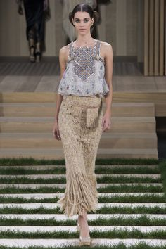Chanel Spring 2016 Couture Fashion Show - Pauline Hoarau (Elite)- embellished tops and fringe continue
