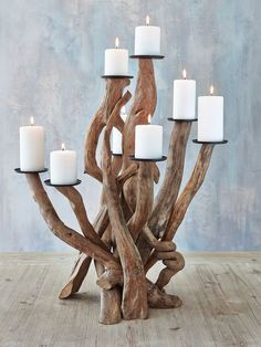 We love this Driftwood candelabra     Made from sculpturing together driftwood branches that have been washed up on the west coast of Scotland      8 Cast iron Candle holders are secured to the top of each branch      This is a large piece measuring 60cm high x 40 cm in depth      A delight to have in your home or a stunning Wedding table Centre piece  £145.00