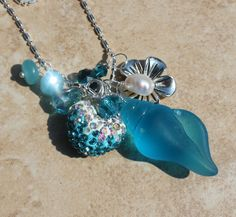 Stunning Aqua Beach Seaglass Shell Silver Necklace by InaraJewels, $34.95