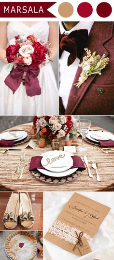 marsala and woodland rustic wedding colors and wedding invitations