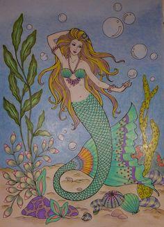 Colored by Linda Koenig Mermaid Coloring Book, Coloring Book Art, Adult Coloring Pages, Mythological Creatures, Fantasy Creatures, Sea Creatures, Mermaid Pictures, Merfolk, Diy Canvas Art