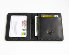 Slim Wallet Leather Thin Wallet Minimalistic Leather Id Wallet Black Card Holder Men's Wallets Front Pocket Wallet