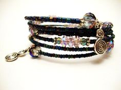 Teal Blue and Purple Memory Wire Bracelet, Beaded Crystal Wrap Bracelet
