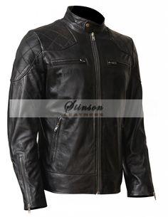 f829936945150 David Beckham Mens Black Biker Leather Jacket Moto Jacket, Motorcycle Jacket,  Biker Jackets,