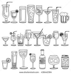 Alcohol drinks and cocktails icon set drawing Vector Set of Sketch Cocktails and Alcohol Drinks Doodle Designs, Doodle Patterns, Sketch Icon, Art Sketches, Colorful Drawings, Easy Drawings, Vaporwave, Glass Photography, Pattern Coloring Pages