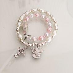 Pearl bracelets / mother daughter bracelets / rosary bracelets / baptism bracelet by MyBellaBoutiqueShop on Etsy