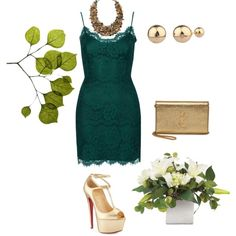 green&gold by on Polyvore featuring polyvore fashion style Topshop Christian Louboutin Yves Saint Laurent Shashi ALDO Dot & Bo