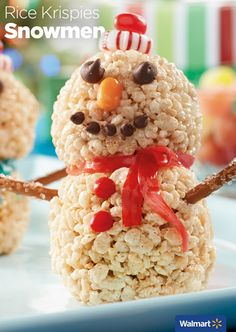Rice Krispies Snowmen | Walmart - Fun for the kiddos this holiday season! Learn how to make adorable snowmen with Rice Krispies Cereral, Jet Puffed Marshmallows, Butter, icing and your favorite candy!