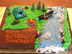 Camping Birthday Cake 2011 Camping Birthday Cake, Shark Birthday Cakes, Camping Cakes, Themed Birthday Cakes, Birthday Parties, Camping Theme, Happy 13th Birthday, 30th Birthday, Birthday Ideas