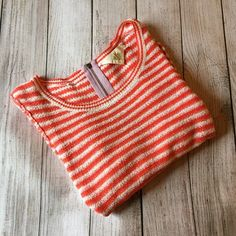 Anthropologie Striped Sweater By HWR - lightweight cotton sweater - back zipper detail - 3/4 sleeves - excellent condition Anthropologie Sweaters Crew & Scoop Necks