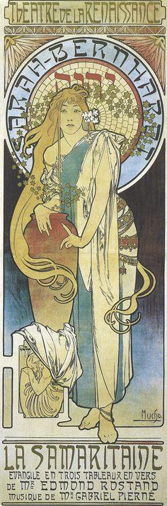1897 Poster for 'La Samaritaine' Sarah Bernhardt at the Theatre de la Renaissance, Paris lithograph - Alphonse  Mucha