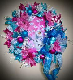 Frozen Inspired Christmas Wreath Girl Room Wreath by WreathyWoman