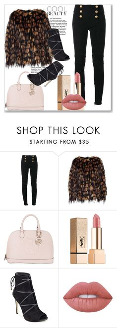 """""""Feather Falls"""" by annedenmark on Polyvore featuring Balmain, Dries Van Noten, GUESS, Yves Saint Laurent and Lime Crime"""