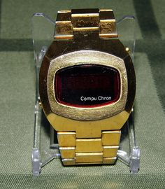 Vintage Compu Chron Goldtone LED Watch, Made in Japan, Circa 1970s.