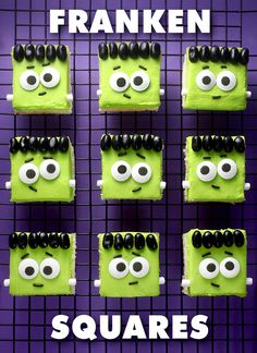 Frankensquare Sugar Cookies - Frankenstein Recipe for Halloween treats. From @bakerella.                                                                                                                                                                                 More