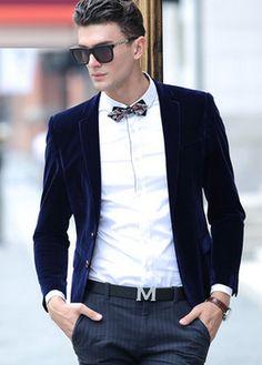 2015 Navy Blue Exclusive Velvet Blazer For Men