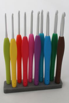 Clover Amour crochet hooks.  Seriously considering putting Sculpey clay handles on my hooks to lengthen them.  They're all too short for my ginormous hands.