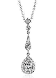 The delicate details of this vintage-inspired diamond teardrop pendant are perfect for a bride's big day or dressing up any occasion. Round brilliant-cut diamonds glitter in 14k white gold and the classic matching cable chain can be worn at 16, 17, or 18 inches for versatility.
