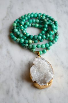 Faceted Deep Turquoise & Gold Bead Long Necklace with White Druzy, Gold Edged Pendant