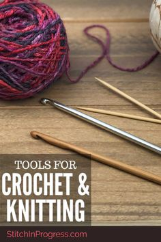 What tools do you need to crochet or knit? Look no further! We have all our favorite tools that we keep in our bag in one handy spot for you! Beginner Crochet Projects, Crochet Tools, Crochet Patterns For Beginners, Knitting For Beginners, Easy Knitting, Easy Crochet Patterns, Learn To Crochet, Crochet Designs, Knitting Projects