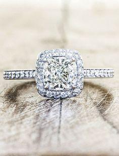 unique engagement rings, halo, cushion cut diamond | Ken & Dana Design